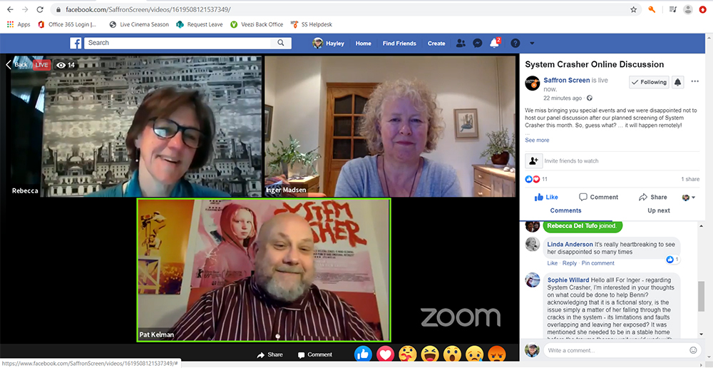 Three people on a Zoom call being livestreamed to a Facebook page.