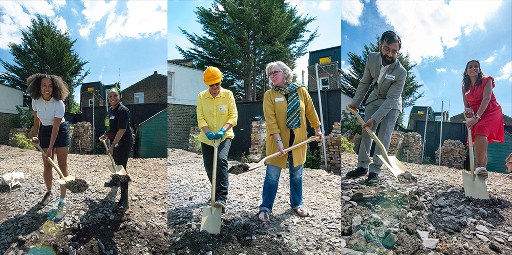 A triptych of images of people digging on a worksite.