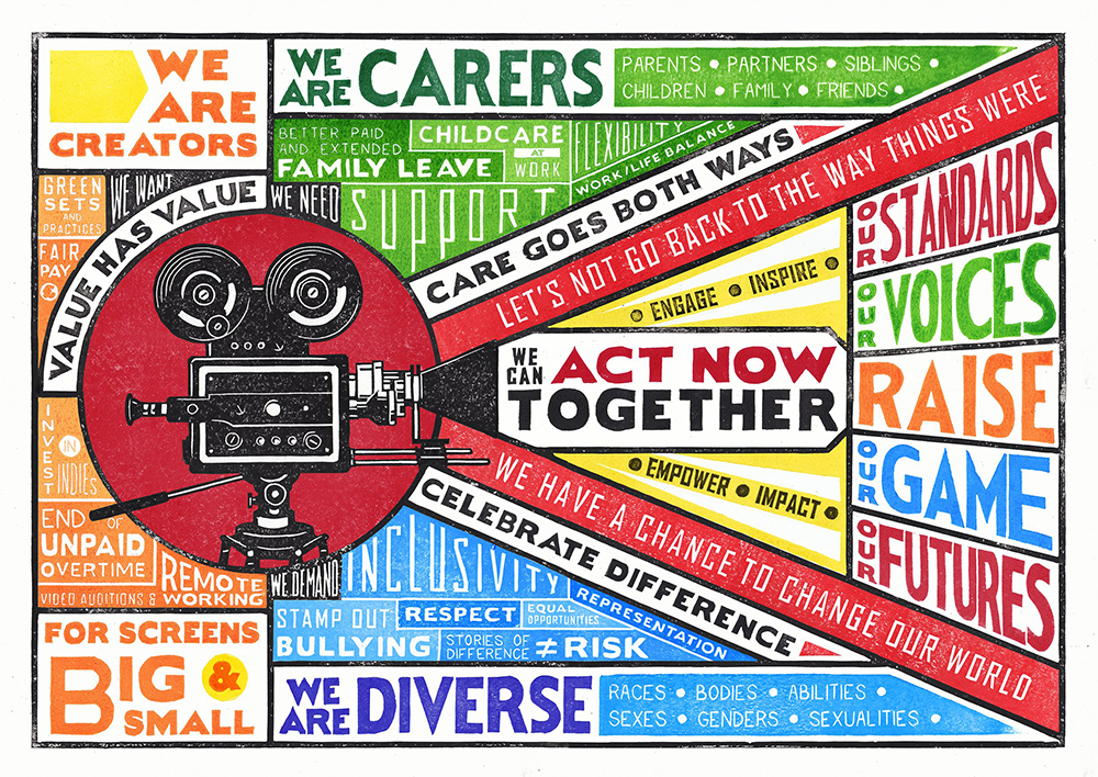 A multi-coloured illustration of the responses to Raising Film's 'Raising Our Futures' initiative. A film camera sits in the middle, and text is arranged all around it. The text includes statements such as 'Care goes both ways', 'Let's not go back to the way things were', 'We have a chance to change our world'.