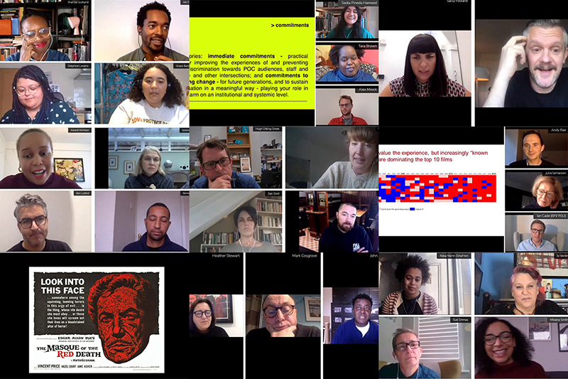 A composite image of many people's faces on video calls.