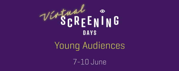 A purple graphic with text in the middle which reads: Virtual Screening Days, Young Audiences, 7-10 June