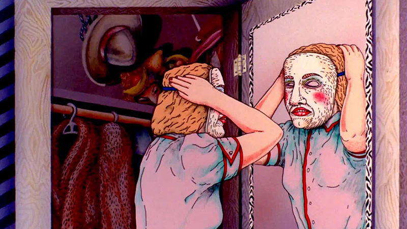 A still from an animated film showing a figure standing in front of a mirror, putting on a white hockey mask with red cheeks and lipstick.