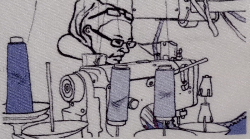 A still from an animated film showing a person at work on a sowing machine.