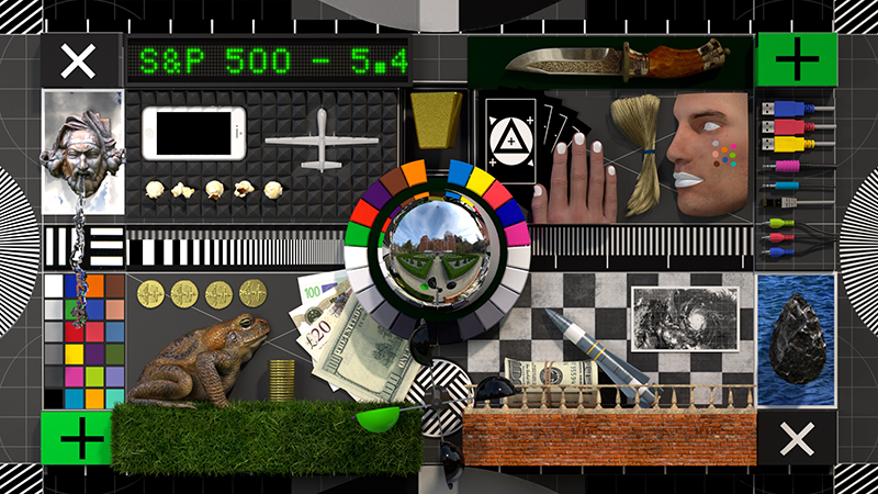 A still from an animated film showing a top-down view of a collage of objects.