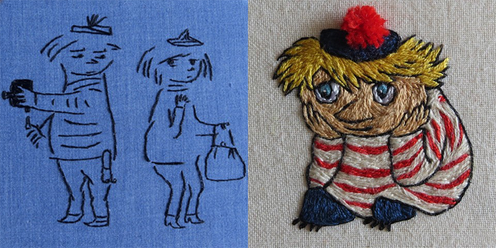 Two Moomin inspired embroidery. The one on the left shows two figures (one holding a camera, one holding a handbag). The one on the right shows a small person with blond hair and a stripy shirt sitting down with their face in their hands.