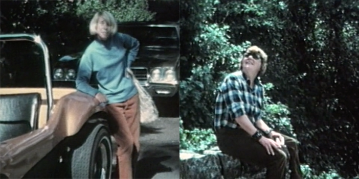 Two film stills side by side. On the left is a woman leaning against a car, on the right is a woman wearing sunglasses sitting in a wood looking to the sky.