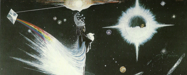 A Rastafari queen floats in space holding a lamb in her arms. In the background are various celestial objects and a baby inside a star.