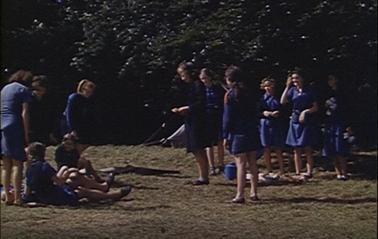 Film still from Girl Guides at Gog Magog Hills
